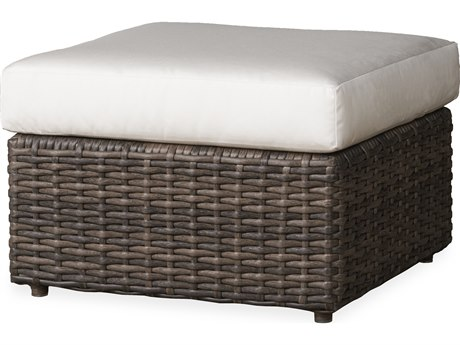 Lloyd Flanders Largo Vintage Oak Wicker Ottoman PatioLiving