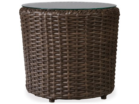 Lloyd Flanders Largo Wicker 22''Wide Round Lay on Glass Top End Table  PatioLiving
