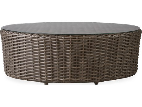 Lloyd Flanders Largo Wicker 48''W x 32''D Oval Lay on Glass Top Coffee Table PatioLiving