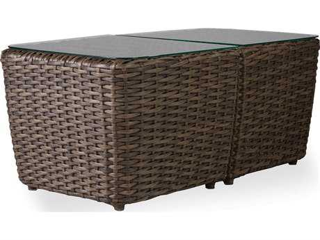 Lloyd Flanders Largo Wicker 44''W x 23.5''D Rectangular Two-Piece Bunching Cocktail Table with Lay-On Glass
