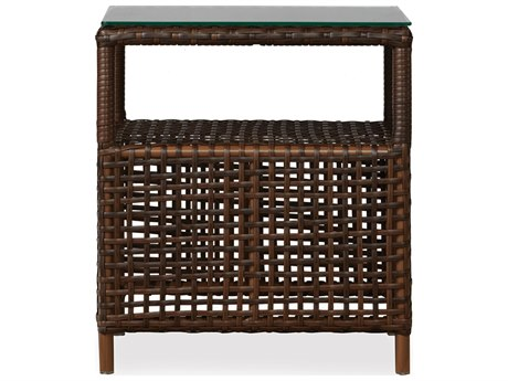 Lloyd Flanders Havana Wicker 20.25 Square End Table with lay-on glass