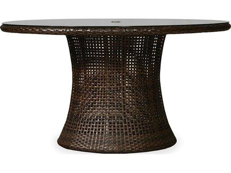 Lloyd Flanders Havana Wicker 54 Round Umbrella Table with lay-on glass