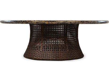 Lloyd Flanders Havana Wicker 48 Round Conversation Umbrella Table with Stone Top