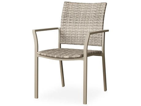 Lloyd Flanders Martinique Granite Wicker Dining Arm Chair PatioLiving