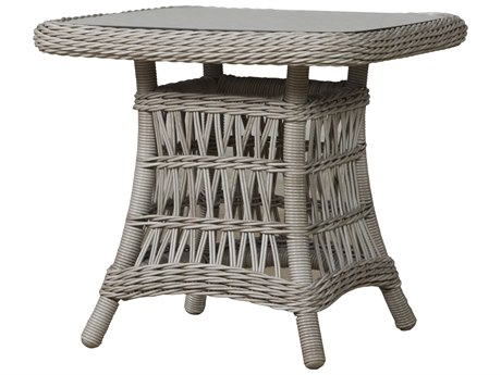 Lloyd Flanders Mackinac Wicker 22 Square End Table Woven Top with Lay-On Glass