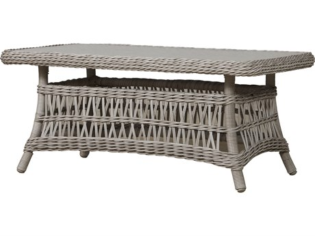 Lloyd Flanders Mackinac 44 x 24 Rectangular Cocktail Table Woven Top with Lay-On Glass
