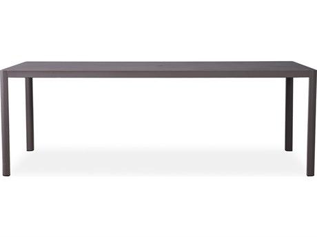Lloyd Flanders Verona Wheat Texilene Aluminum 86.5''W x 39.5''D Rectangular Dining Table with Umbrella Hole