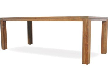 Lloyd Flanders Teak 72'' x 39.5'' Rectangular Umbrella Table