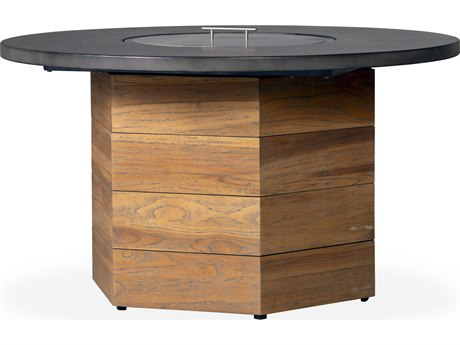 Lloyd Flanders Teak Antique Gray 48''Wide Hexagonal Fire Table with Faux Concrete Top