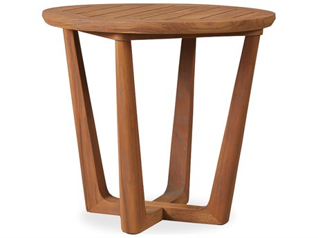 Lloyd Flanders Teak 24 Round Contemporary End Table