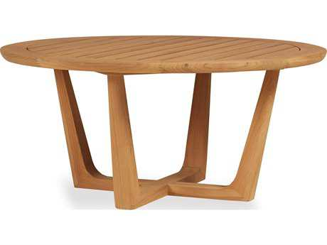 Lloyd Flanders Teak 40 Round Contemporary Cocktail Table