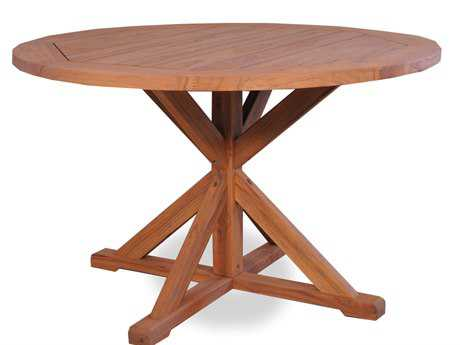 Lloyd Flanders Teak 48'' Round Pedestal Base Dining Table