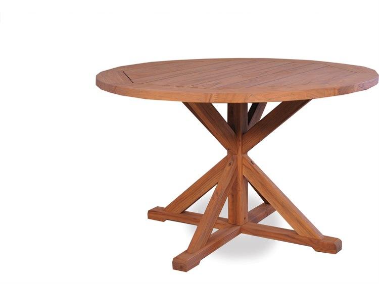 Lloyd Flanders Teak 48\'\' Round Pedestal Base Dining Table