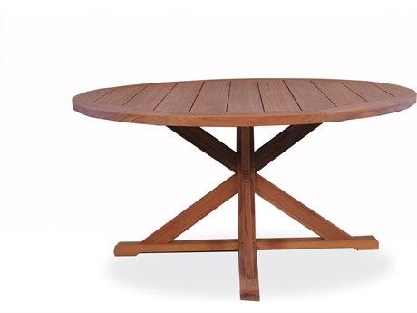 Lloyd Flanders Teak 60''Wide Round Pedestal Base Dining Table PatioLiving