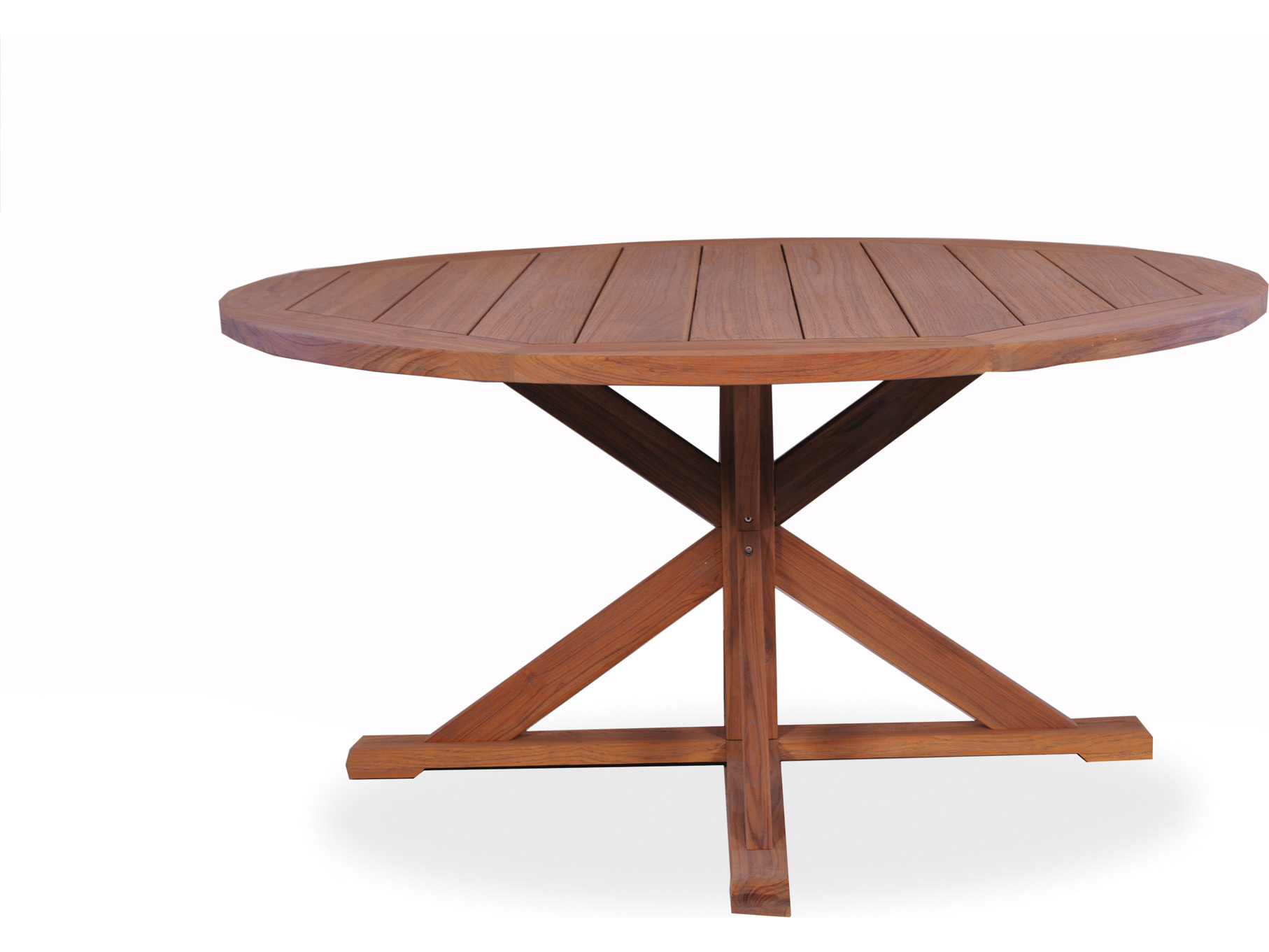 Lloyd flanders teak 60 39 39 round pedestal base dining table for 60 round dining table