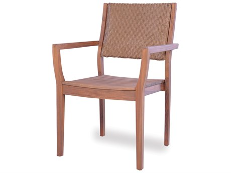 Lloyd Flanders Teak Dining Arm Chair with Loom Back LF286201