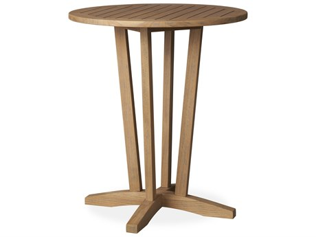 Lloyd Flanders Teak Antique Gray 30'' Round Bar Table PatioLiving