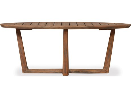 Lloyd Flanders Teak 48 Oval Cocktail Table Sled Base