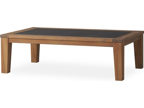 Lloyd Flanders Teak Antique Gray 52''W x 32''D Rectangular Cocktail Table with Faux Concrete Insert