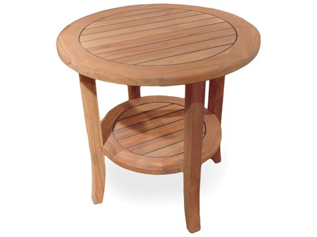 Lloyd Flanders Teak 23.5'' Round Tapered Leg End Table w/ Shelf