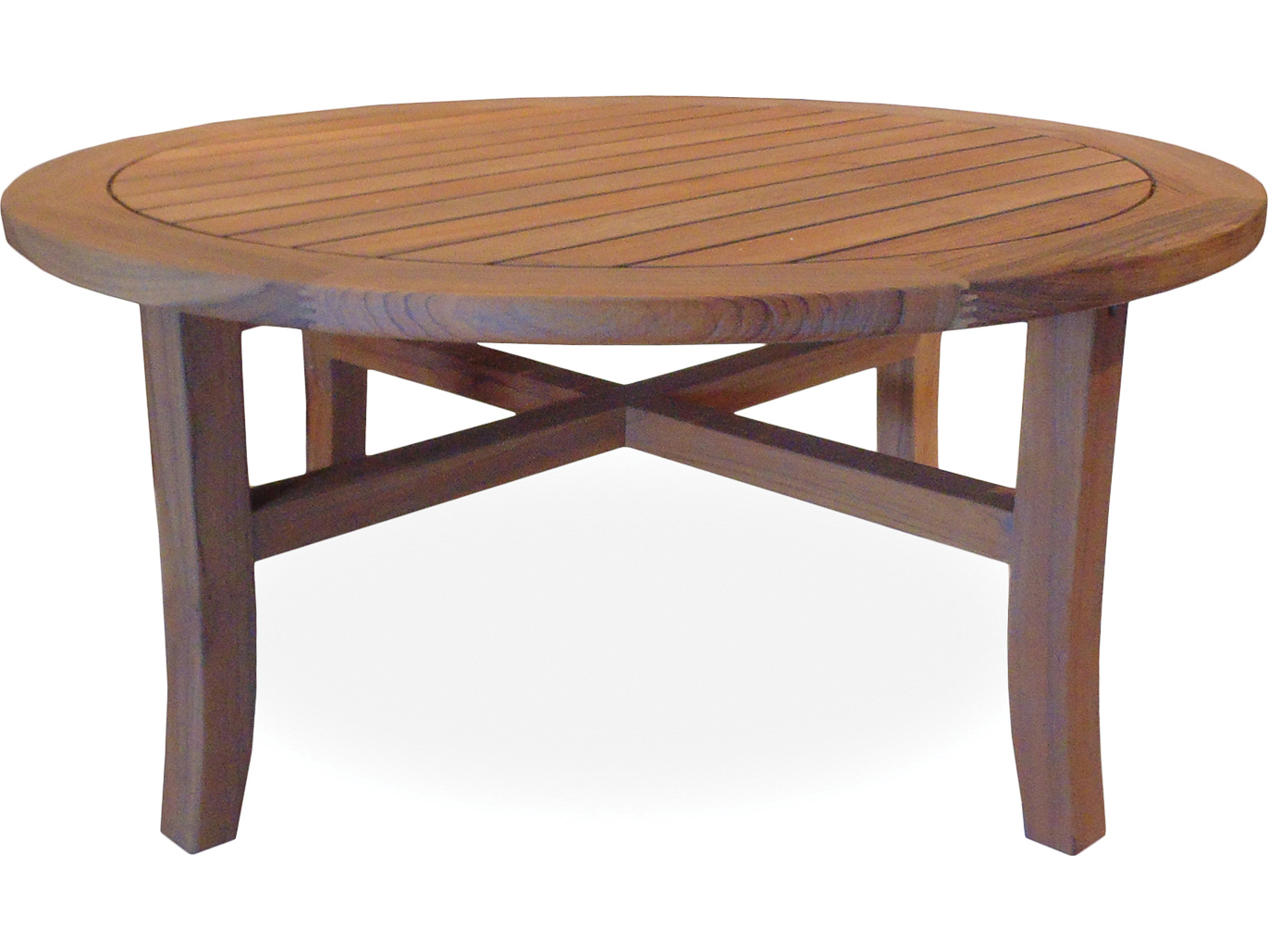 Lloyd flanders teak 403939 round tapered leg cocktail table for 40 inch round coffee table