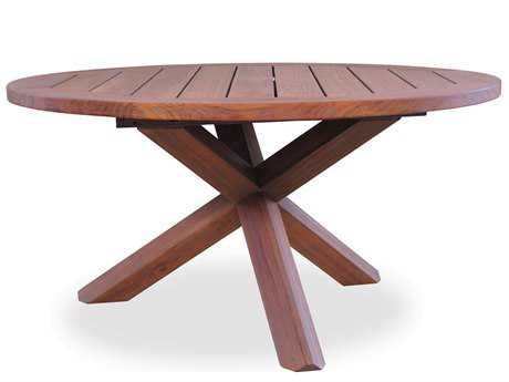 Lloyd Flanders Teak 48'' Round Cross-Base Conversation Table