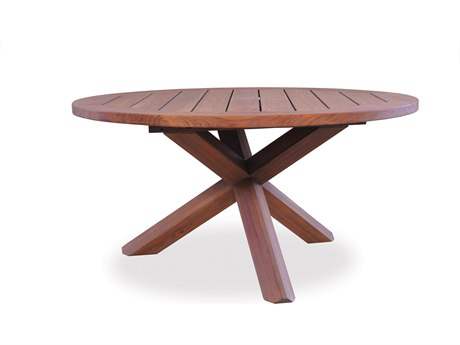 Lloyd Flanders Teak 48'' Round Cross-Base Conversation Table LF286448