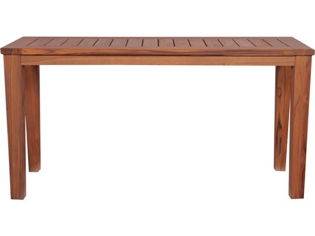 Lloyd Flanders Teak 57.75'' x 20'' Rectangular Tapered Leg Console Table
