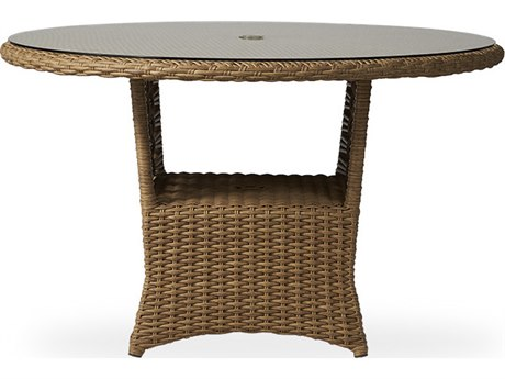 Lloyd Flanders Magnolia Wicker 48''Wide Round Dining Table with Umbrella Hole