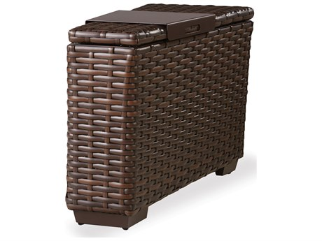 Lloyd Flanders Contempo Wicker Storage Wedge Table with Hinged Top Including Tray PatioLiving