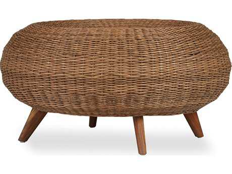 Lloyd Flanders Tobago Wicker Cocktail Ottoman
