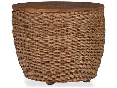 Lloyd Flanders Tobago Wicker Barrel End Table with Antiqued Teak Top