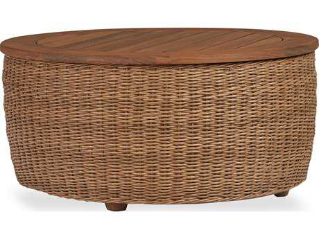 Lloyd Flanders Tobago Wicker 36'' Round Cocktail Table with Antiqued Teak Top