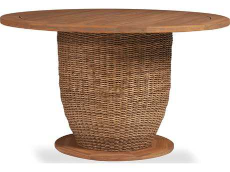 Lloyd Flanders Tobago Wicker 48 Dining Table with Antiqued Teak Top
