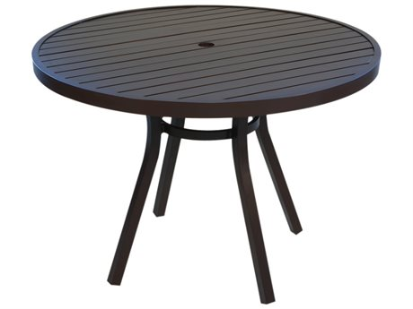 Lloyd Flanders Lux Aluminum 42''Wide Round Slat Top Dining Table with Umbrella Hole