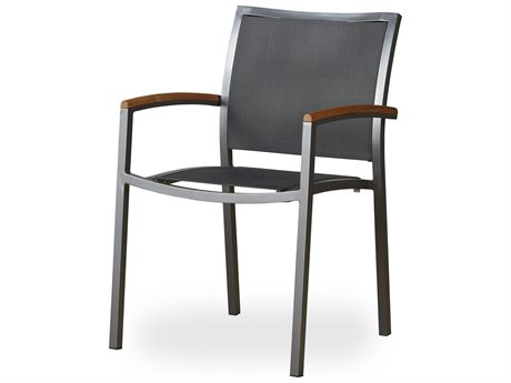 Lloyd Flanders Lux Aluminum Sling Stacking Dining Armchair with Teak Arms (Set of 4)