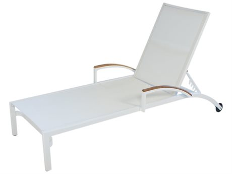 Lloyd Flanders Lux Aluminum Sling Stacking Chaise with Teak Arms (Set of 2)