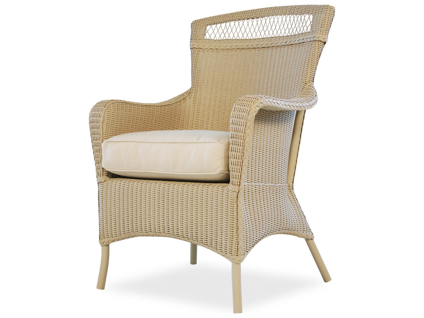 Lloyd Flanders Wicker Cushion Arm Dining Chair 66001