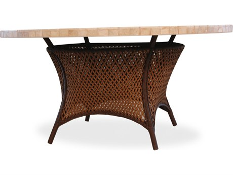 Lloyd Flanders Grand Traverse Wicker 60'' Round Stone Dining Table with Umbrella Hole