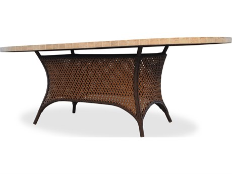 Lloyd Flanders Grand Traverse Wicker 84'' x 44'' Oval Stone Dining Table with Umbrella Hole