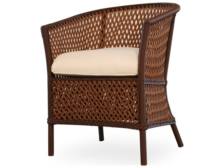 Lloyd Flanders Grand Traverse Wicker Cushion Barrel Arm Dining Chair