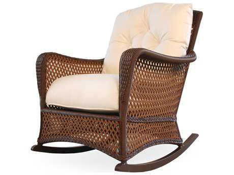 Lloyd Flanders Grand Traverse Wicker Cushion Arm Rocker Lounge Chair