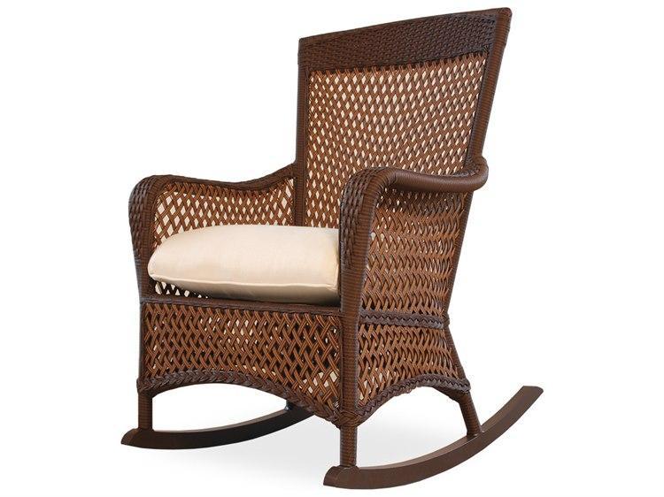 Lloyd Flanders Grand Traverse Wicker Cushion Arm Rocker Lounge Chair