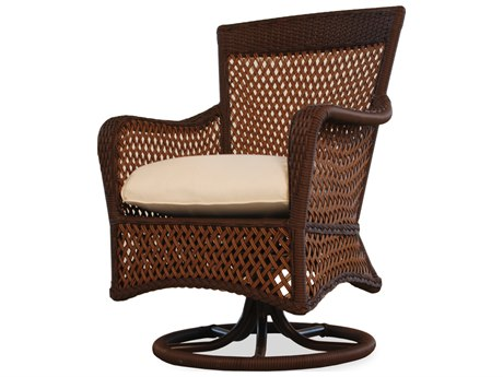 Lloyd Flanders Grand Traverse Wicker Swivel Dining Arm Chair PatioLiving