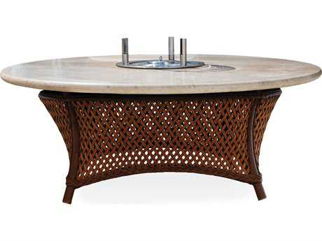 Lloyd Flanders Grand Traverse 48 Round Conversation Fire Table with EcoSmart Fire and Stone Top