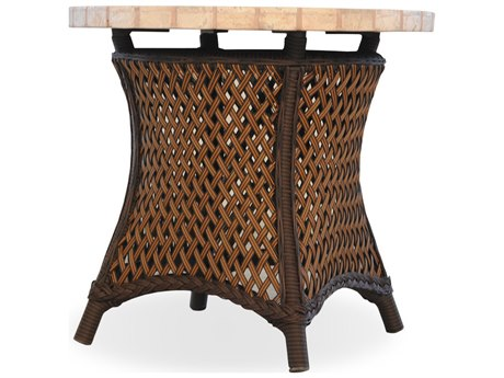 Lloyd Flanders Grand Traverse Wicker 24'' Round Stone End Table