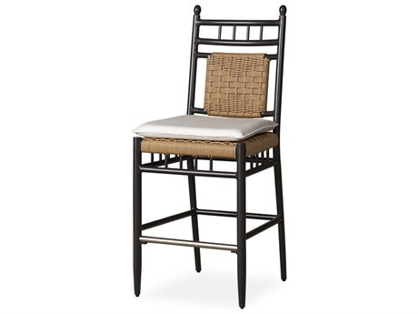 Lloyd Flanders Low Country Antique Black Aluminum Wicker Bar Stool PatioLiving