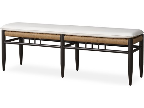 Lloyd Flanders Low Country Antique Black Aluminum Dining Bench PatioLiving