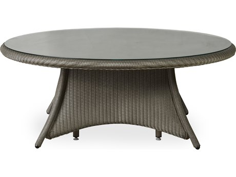 Lloyd Flanders Occasional Wicker 48 Round Glass Top Chat Table LF86041