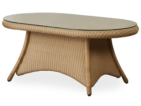 Lloyd Flanders Occasional Wicker 42 Oval Glass Top Cocktail Table
